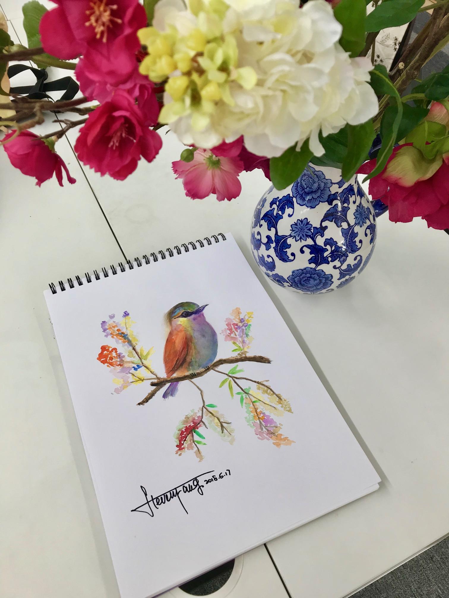 水彩画小鸟