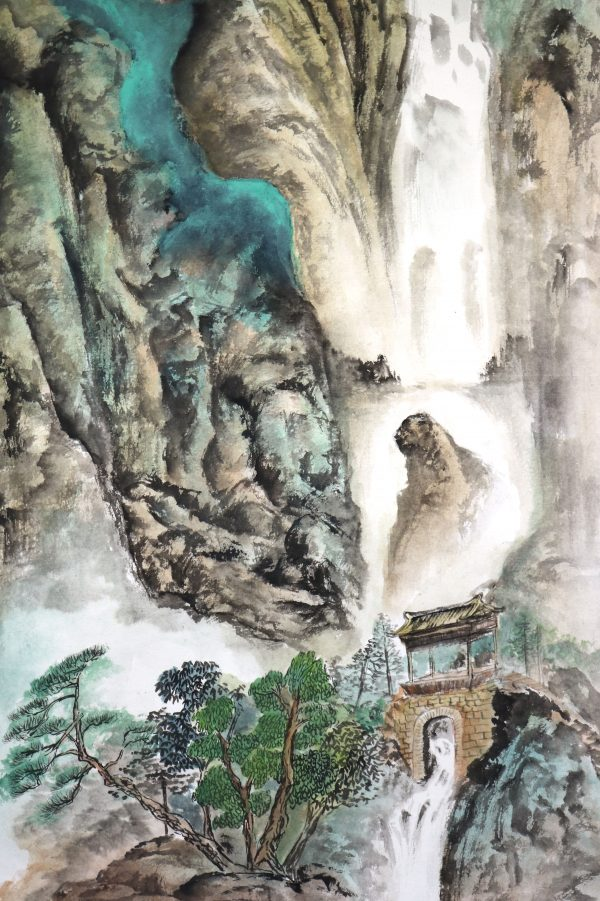 Chinese painting mountains waterfall